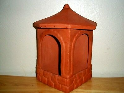 Clay Terra Cotta Covered Gazebo Bird Feeder/Bath, Flower Vessel, MARSHALL TEXAS