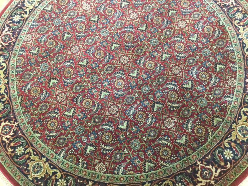 5 X 5 Round Red Navy Blue Super Herati Oriental Area Rug Hand Knotted
