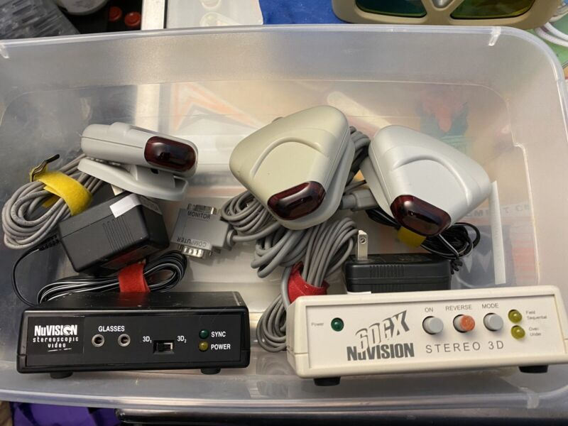 NuVision 60GX wireless LC glasses; Emitters; And 2 Boxes
