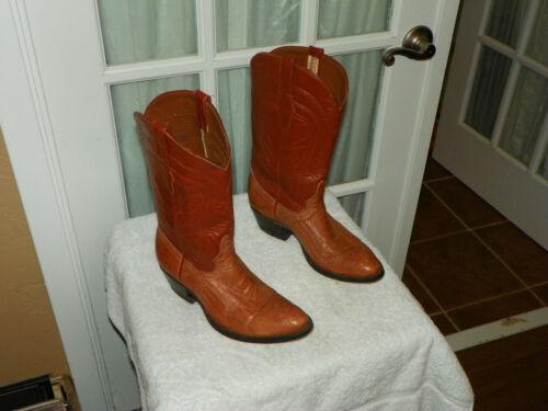 Cowtown, Light, Brown, Ostrich, Leg, Cowboy, Western, Boots, Mens, size, 7.5, D,