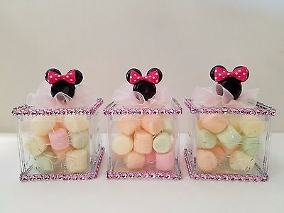 12 Minnie Mouse Fillable Blocks Baby Shower Favors Prizes Game Girl Decorations ()