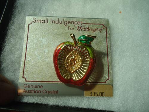 Danecraft vtg gold tone Genuine Crystal enamel Apple pin