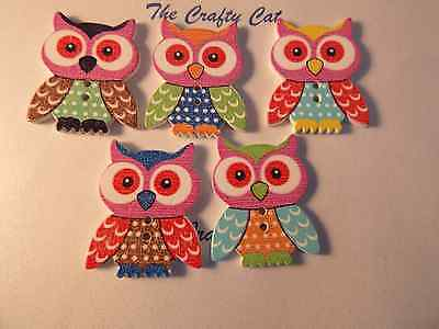 5 LARGE WOOD MULTI COLOUR OWL 2 HOLE BUTTONS CARD MAKING SEWING 35 MM X 25 MM (Make Owl Costume)