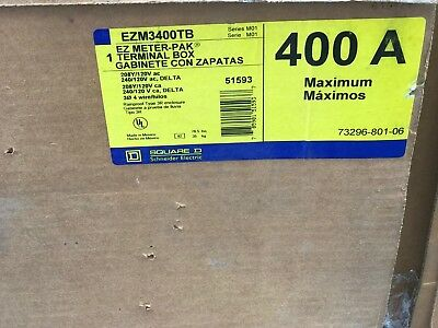 Square D Ezm3400tb 400 Amp 120208 Volt Ez Meter-pak Terminal Box Mb32 New-b