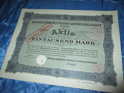 histor. AKTIE , Bibliographisches Institut AG LEIPZIG  1915 // 1000 Mark ,Nr.112