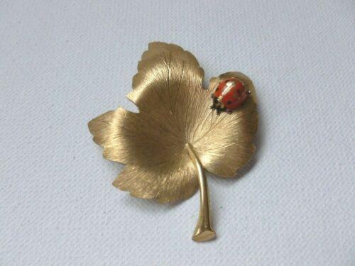 Vintage Signed Krementz Gold Tone Leaf Enamel Ladybug Brooch