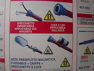 ASTA PRENDITUTTO FLESSIBILE MOLLA A 4 GRIFFE + MAGNETE + SPECCHIO +LUCE LED