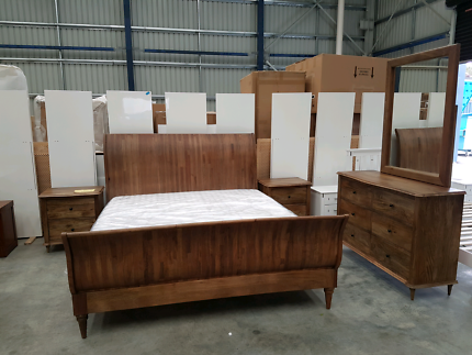 New Solid Mango Wood Empire 5 Piece King Size Bedroom Set