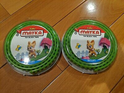 Lot of 2 x Zuru Mayka Toy Block Tape 1M 3.2FT - 2 Studs Compatible w/ Lego GREEN