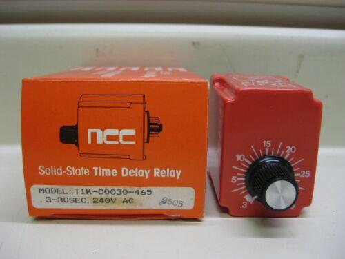 New NCC Ametek T1K-00030-465 .3-30 Sec 240V Solid State Timer Time Delay Relay