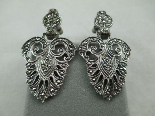 Antique Art Nouveau Sterling Silver Marcasite Earrings Screw-back Dangle 103E