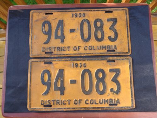 Vintage 1938 District of Columbia Matched Pair License Plates Washington, DC Tag