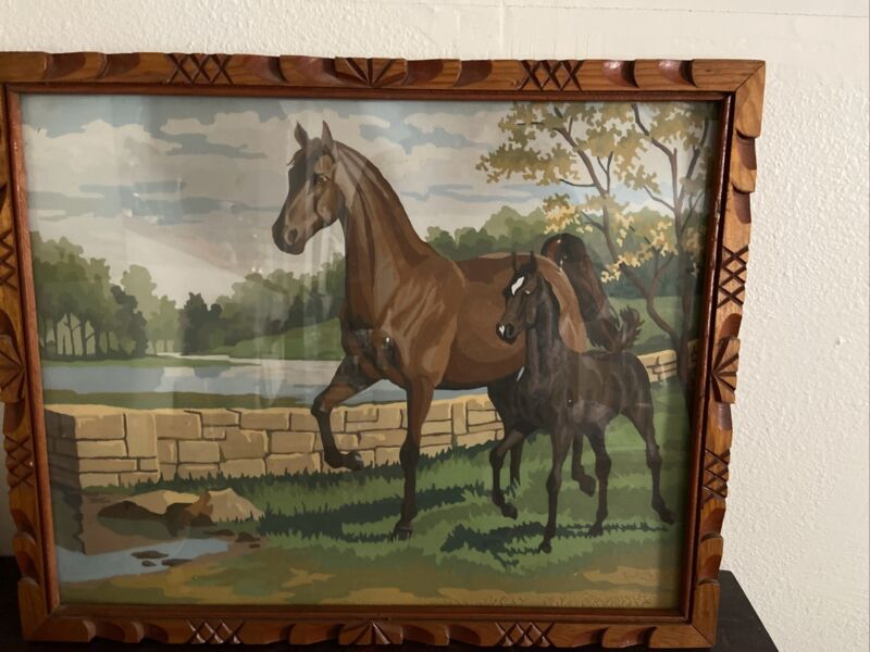 Vintage Mid - Century Paint By Number Horses, Framed