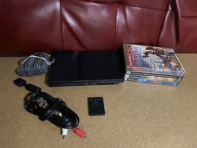 Sony PlayStation 2 SCPH-70001 Slim Black Console with Cables And 4 Games
