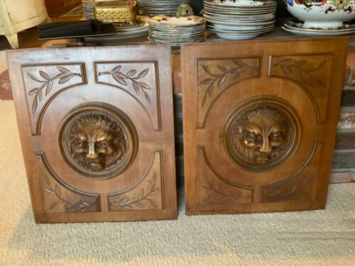 Pair Gorgeous French Architectural Mahogany Wood Door Panels Hand Carved Lions