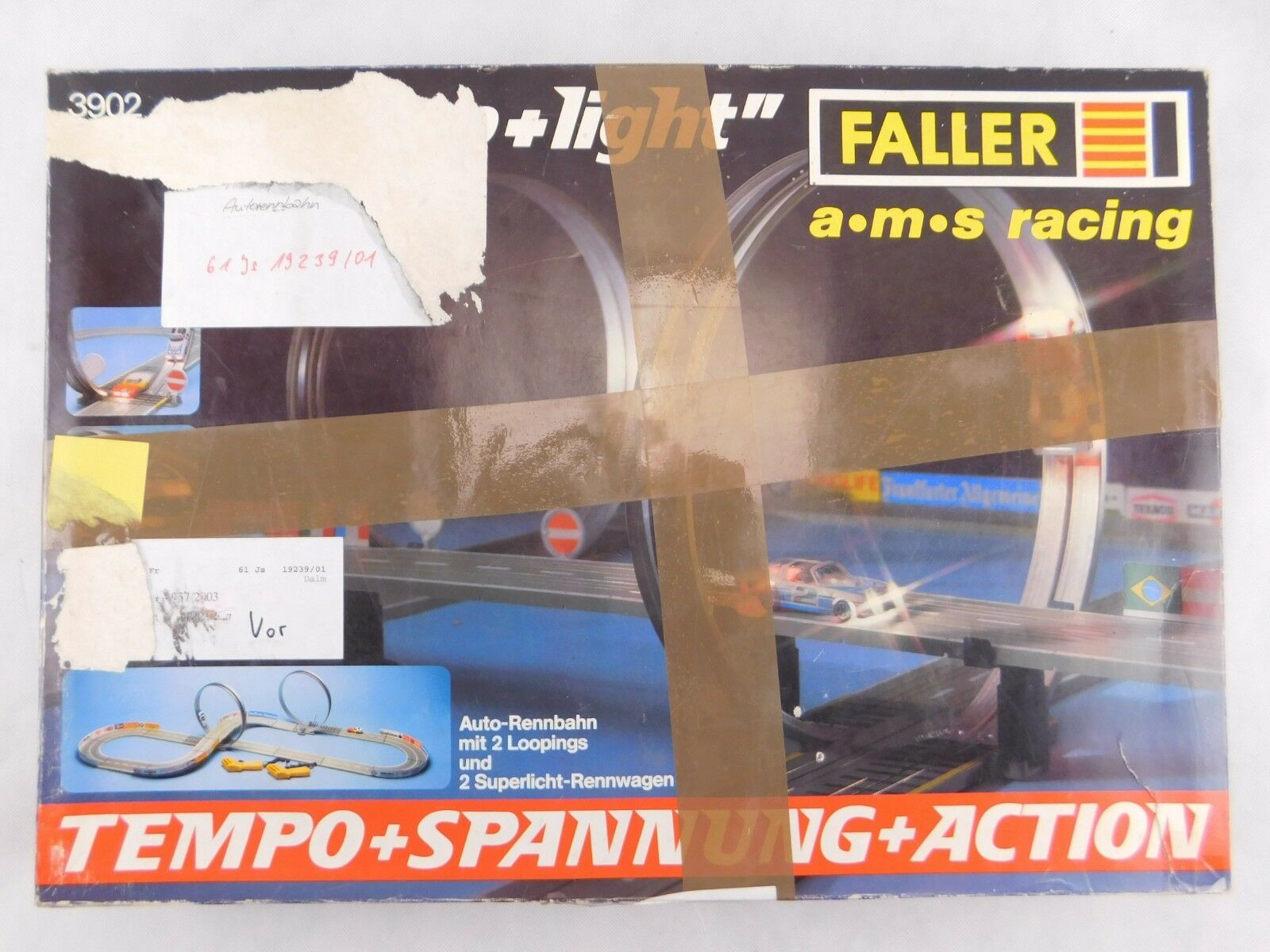 FALLER Rennbahn ams Auto Motor Sport Racing loop +  light 3902 1:87 OVP #6