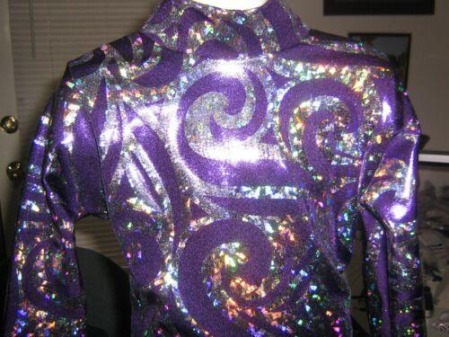 Purple holo western pleasure horsemanship show shirt leadline, girls xs S M L xl
