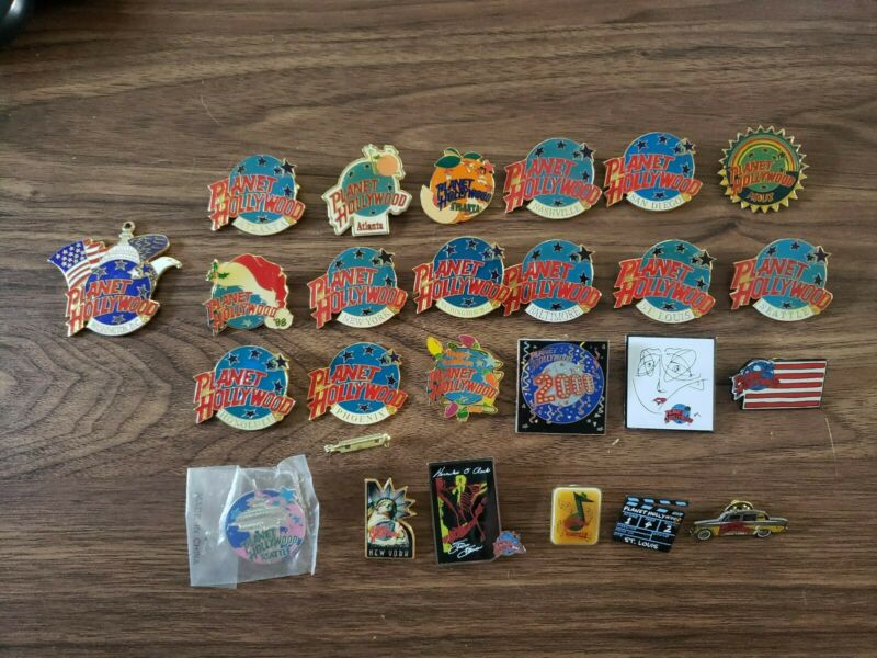 (25) PLANET HOLLYWOOD collector pins Seattle New York DC  MAUI ATLANTA PHOENIX