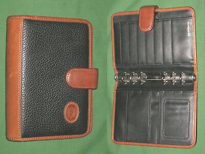 Compact 1.0 Black Brown Leather Liz Claiborne Planner Binder Franklin Covey
