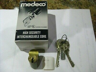 Medeco Removable Cylinder W 2 Keys. Air Keyway. Nos. Pristine. High Security.