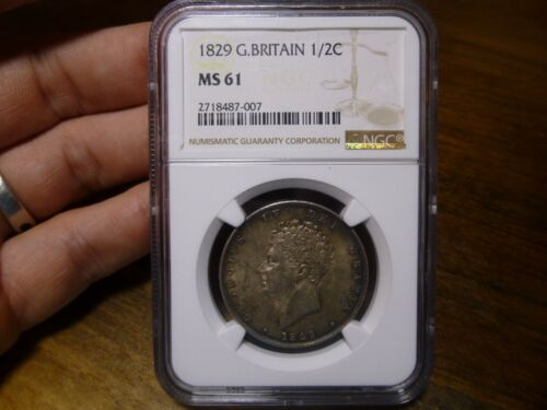 1829 GREAT BRITAIN GEORGE IV 1/2 CROWN NGC MS61 MINT STATE!
