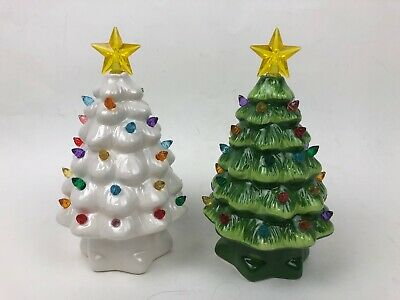 "Mr. Christmas Ceramic Light Up Christmas Tree 7"" Battery Set of 2"