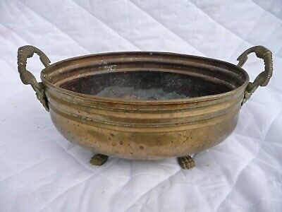 Vintage Brass Oval Planter Pot Patio Flower Lion Paw Feet+Lion Face Handles