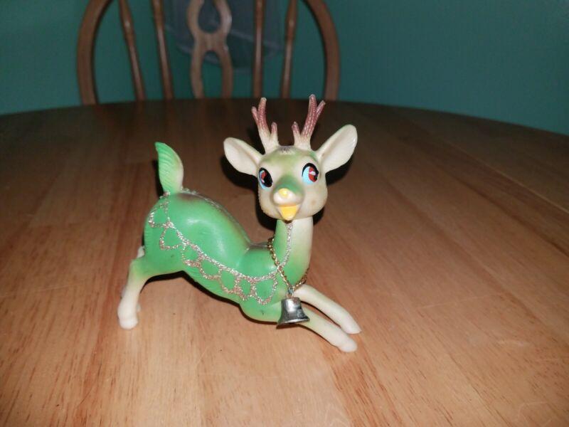 Vintage 50s Japan Flying Playful Green Reindeer Soft Rubber Figure Head Poses