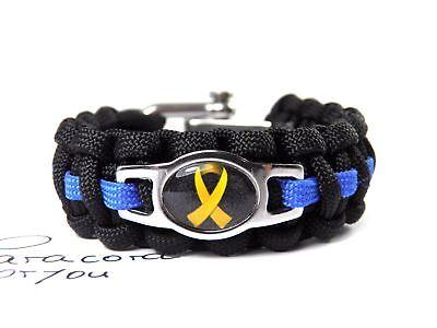 izei+Bundeswehr-Thin Blue Line-Yellow Ribbon-Edelstahl Charm (Paracord Armband Charms)