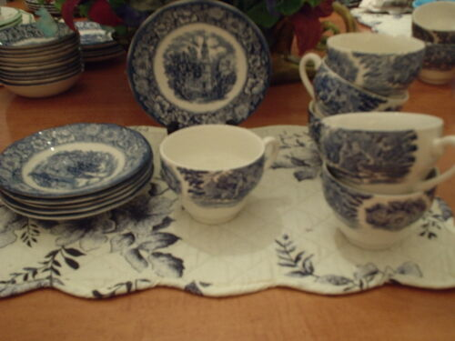 Liberty Blue- Old North Church- Cups and Saucers -6 -  Unused