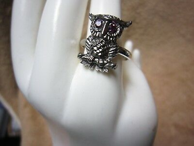 Vtg. Sarah Coventry Adj. Silvertone NOCTURNE OWL Ring  #5485 Halloween Jewelry - Halloween Costumes Coventry