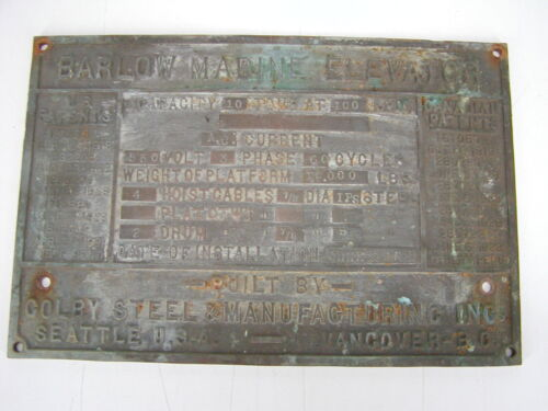 ANTIQUE BARLOW MARINE ELEVATOR PLAQUE COLBY STEEL SEATTLE 1950 SALVAGE