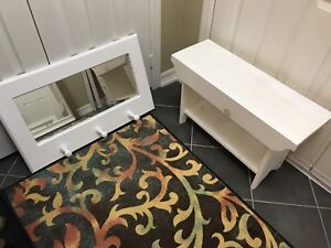 White hall mirror and bench
