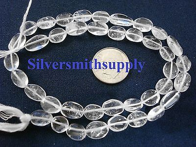 Crystal quartz natural stone oval bead 14 inch strand approximately 40 pcs sb003, used for sale  Shipping to India