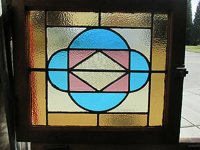 ANTIQUE AMERICAN STAINED GLASS WINDOW 24 x 21 2 OF 8  ~ ARCHITECTURAL SALVAGE ~