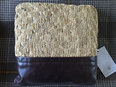 R&Y AUGOUSTI Woven Art Deco-style Fabric Cushion. Leather Trim. Suede back.