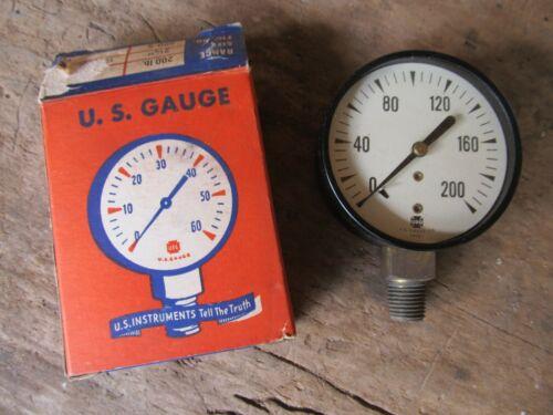 """Vintage NOS US Gauge Made in USA 2-1/2""""  Pressure Gauge 1/4"""" 200 PSI"""