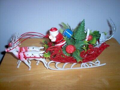 Vintage Indoor Christmas Soft Plastic Blow Mold Santa Sleigh + 2 Reindeer
