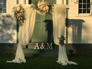 Wood arch with drape