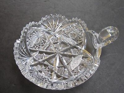 Stunning Antique Cut Glass Hobstars & Fans Decorated FInger Grip Handled Bowl