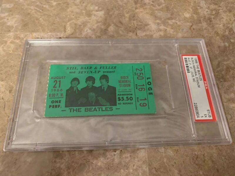The Beatles 1966 Busch Memorial Ticket Stub PSA Rare Vintage