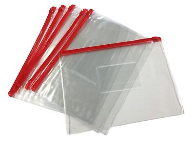 12 X A5 Red Zip Zippy Bags -document Clear Plastic Transparent Storage Wallet