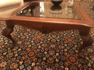 Coffee table, solid timber with glass centre