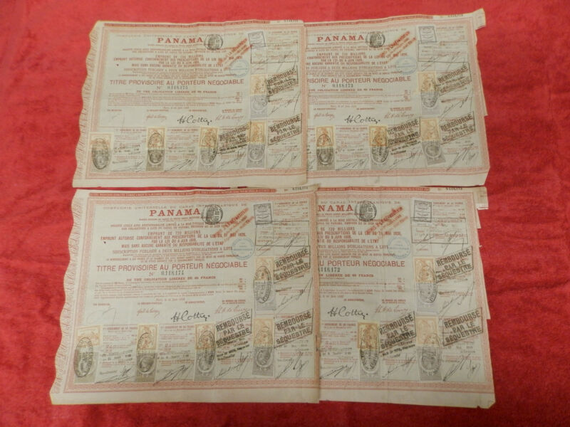 4 X CANAL INTEROCÉANIQUE DE PANAMA 1888 RED FRENCH OLD BOND 2 PARTIAL COUPONS