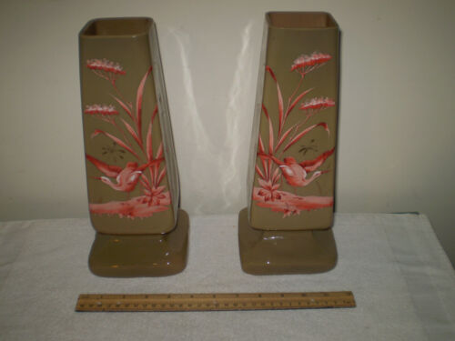 THOMAS WEBB and SONS RARE SIGNED Antique Mid 1800s Pair of FIREGLOW Mantle Vases