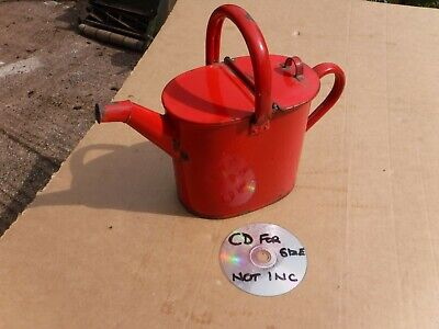 VINTAGE  RED   FRENCH  ENAMEL  WATERING  CAN.  FREE  DELIVERY.