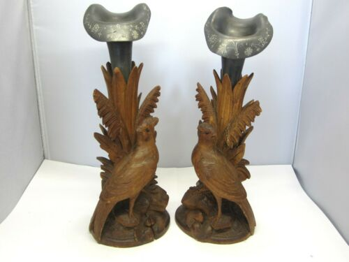 PAIR OF ANTIQUE HAND CARVED BLACK FOREST VASES WITH BIRDS.AND ENGRAVED VASES