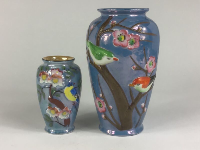 2 Vintage Lusterware Vases Blue W/Birds & Cherry Blossoms In Relief Japan