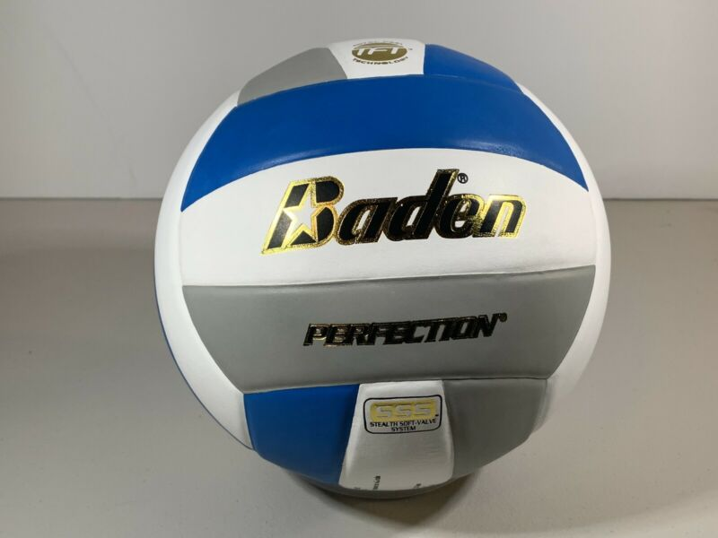 BADEN Perfection Leather Competition Volleyball Blue/White/Gray - AVCA/NFHS BNIB