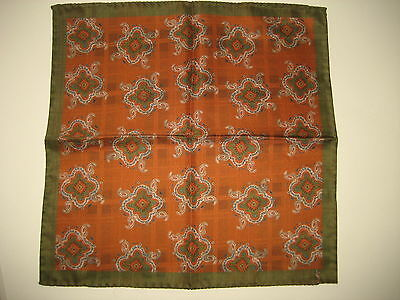 $140 NEW Yves Saint Laurent YSL Orange Silk Handkerchief Pocket Square 13 x 13